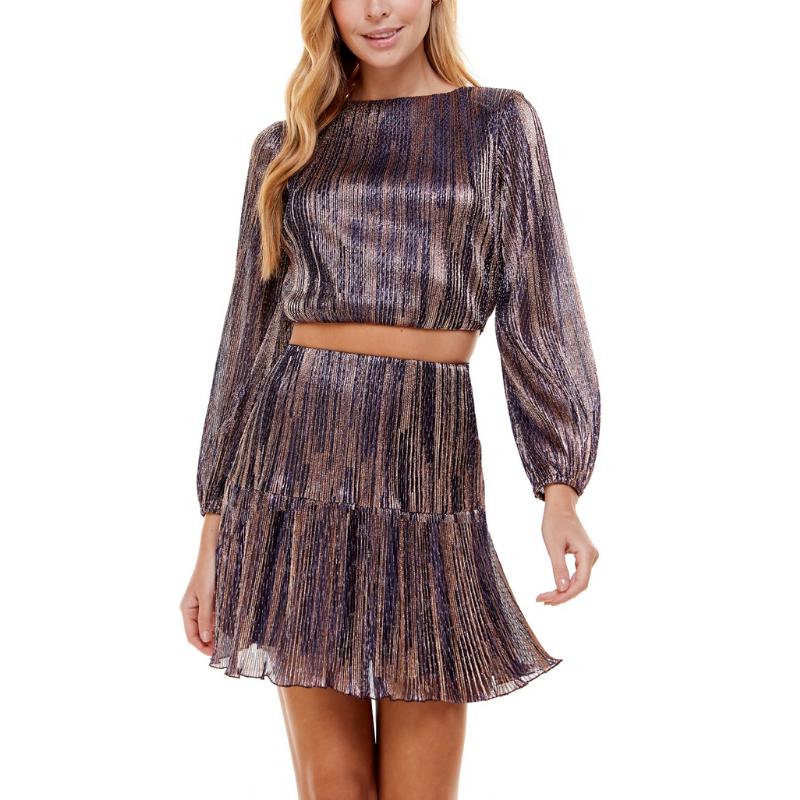 City Studios Juniors' Metallic 2-Pc. Fit & Flare Dress – Macy's Canada