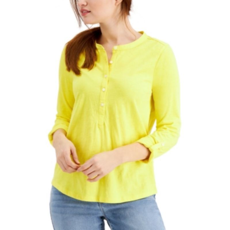 Style & Co Cotton Cuffed-Sleeve Henley Top, Created for Macy's – Macy's Canada