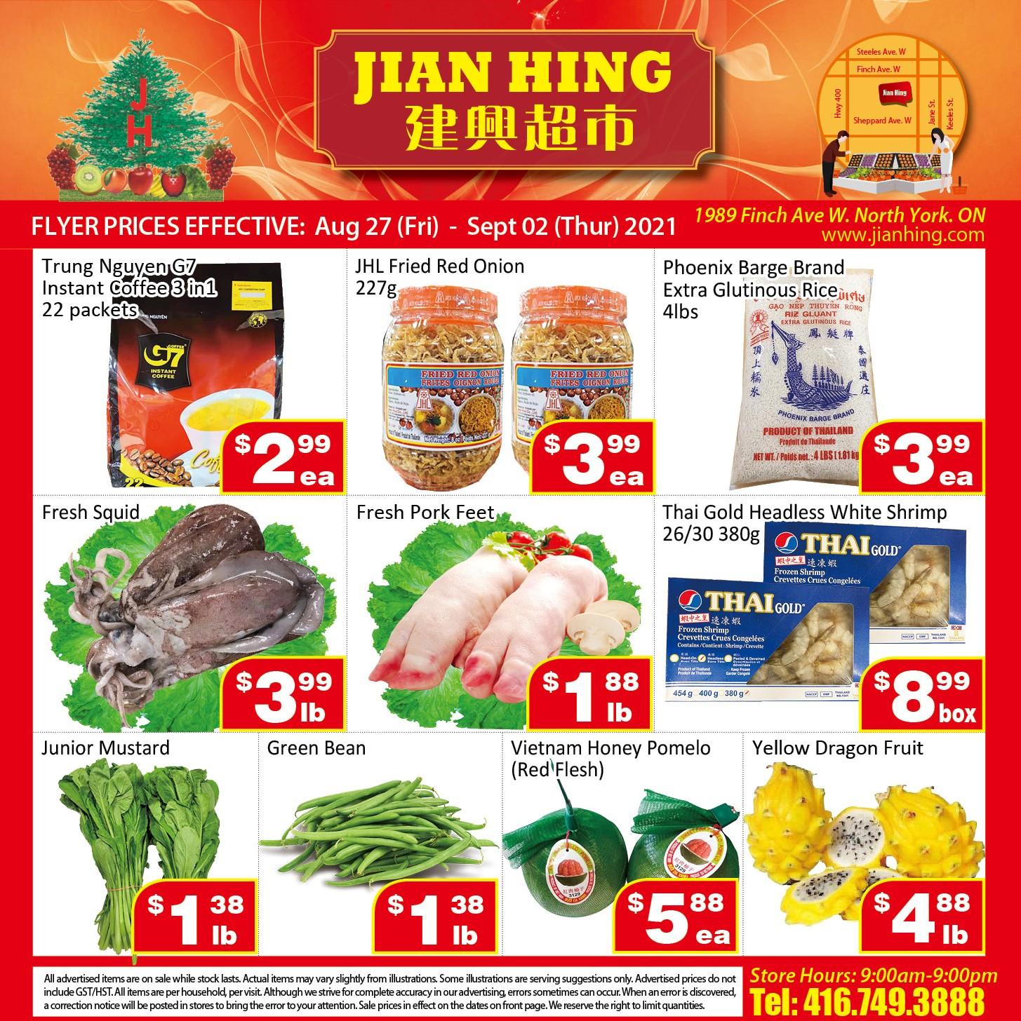 Jian Hing Supermarket Northyork Flyer | Aug 27