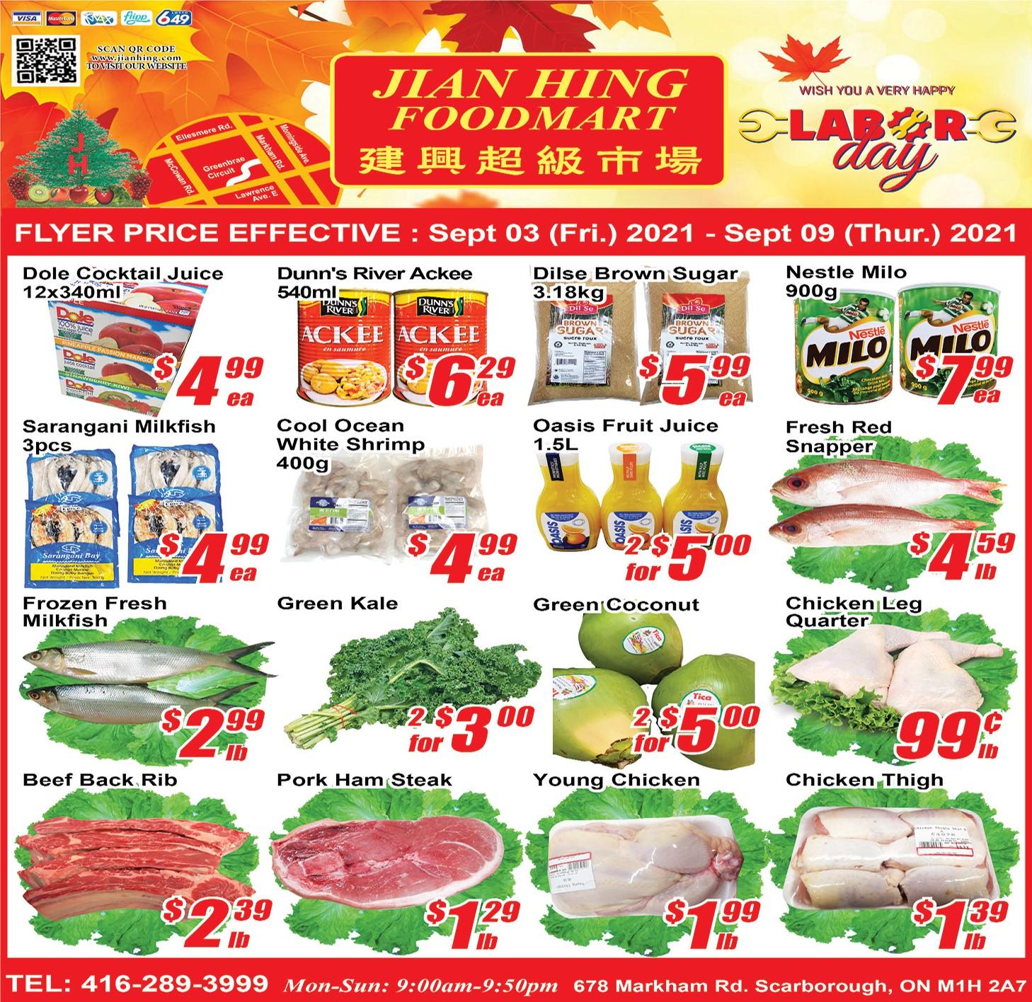 Jian Hing Foodmart Scarborough Flyer | Sep 3